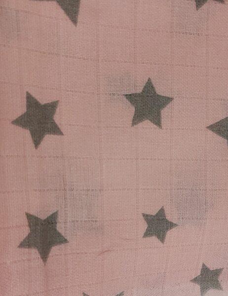 Rozā marles kokvilnas autiņš ar pelēkām zvaigznītēm, 70x80cm, Kiecz