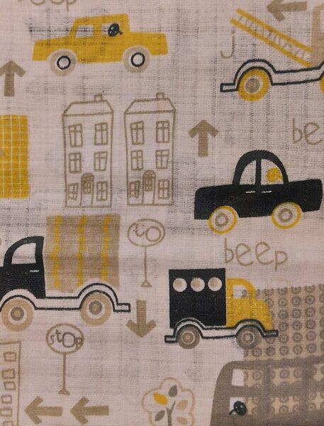 Balts marles kokvilnas autiņš Dzeltenā pilsēta, 70x80cm, Kiecz