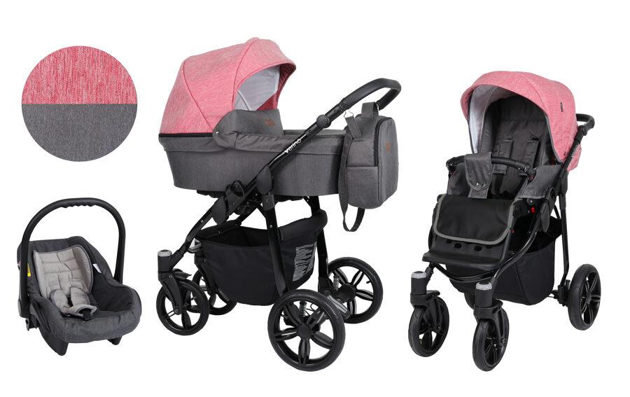 Bērnu rati Verino, nr. 3 rozā/grafīta