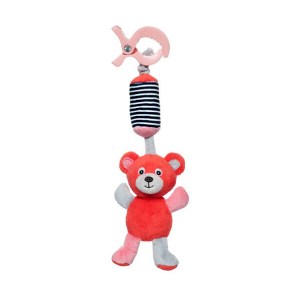 Plīša rotaļlieta ar zvaniņu BEAR Canpol 68/054 coral