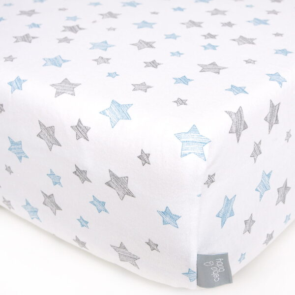 Palags ar gumiju BLUE STARS, jersey, 120 x 60 cm, Ceba baby