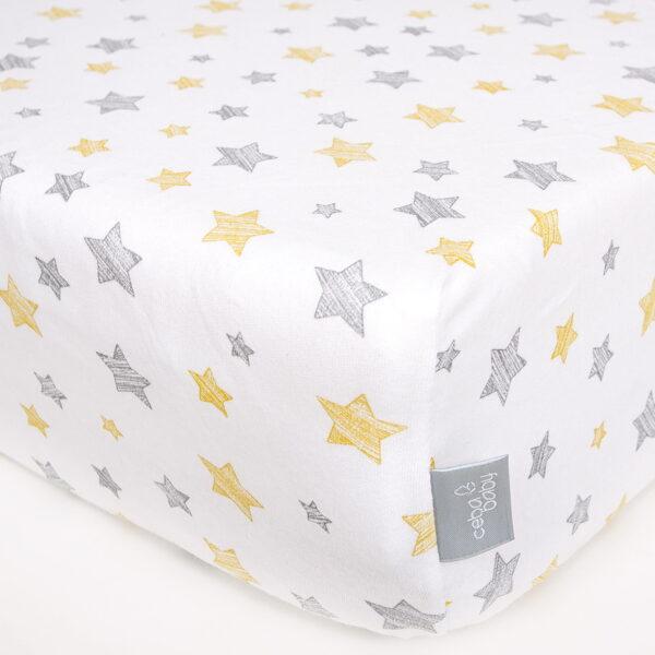 Palags ar gumiju YELLOW STARS, jersey, 120 x 60 cm, Ceba baby