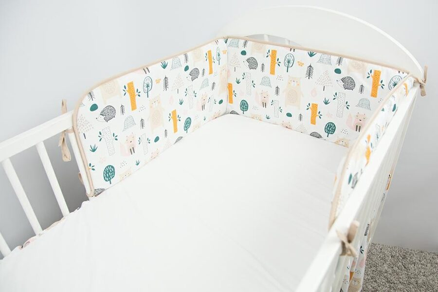 Aizsargmalas bērnu gultiņai, 180cm, Forest beige, Ankras