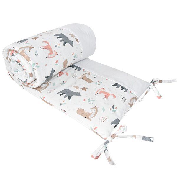 """Aizsargapmale bērnu gultiņai, OCH01, """"Dzīvnieciņi"""", Ekokids"""