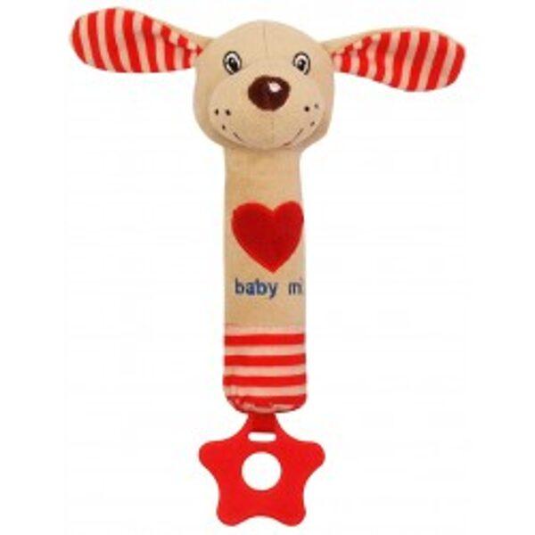 Rotaļlieta ar pīkstuli sarkans sunītis, 17514D, BabyMix
