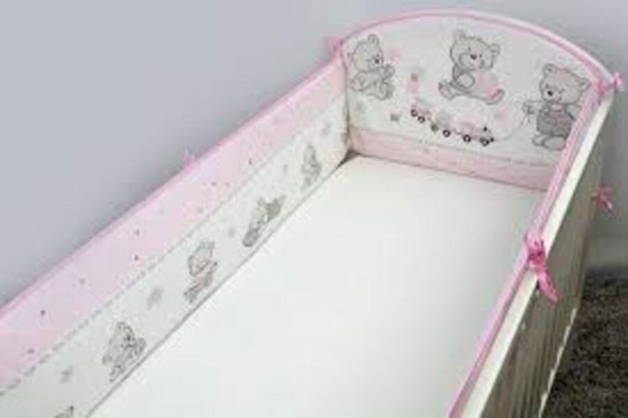 Aizsargmalas bērnu gultiņai, 360cm, Cookies pink, Ankras