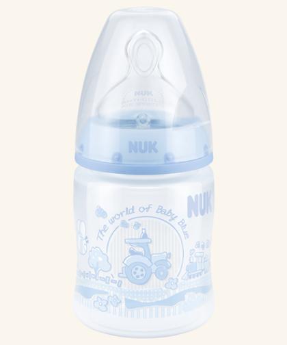 NUK First Choice Plus Pudele Baby Rose & Blue 150ml ar silikona knupi 0-6 mēn., M, SD18