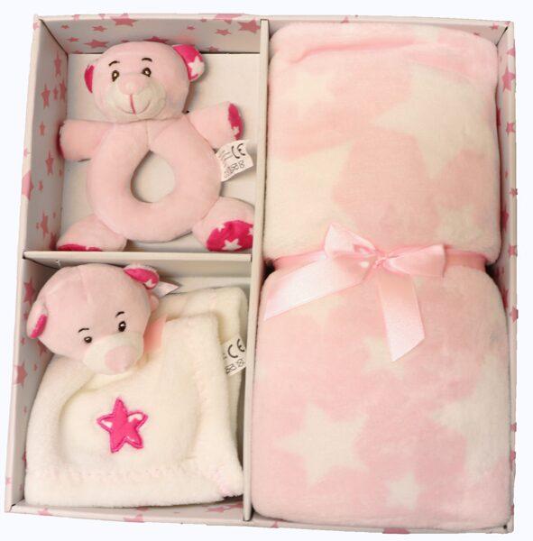Plediņš 80x105cm ar rotaļlietu,, pink, Z2437, Sunday