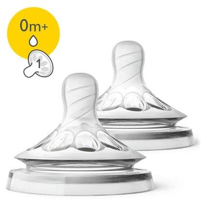Philips Avent Barošanas pudeļu silikona knupīši Natural 0M+, (2 gab) (Artikuls: SCF041/27)