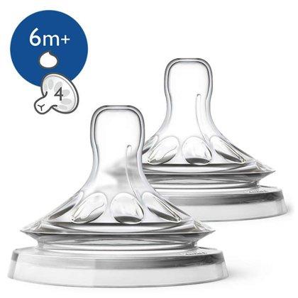 Philips Avent Barošanas pudeļu silikona knupīši Natural biezai barībai 6M +, (2 gab) (Artikuls: SCF046/27)