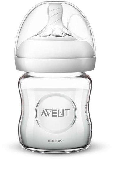 Philips Avent Natural stikla zīdaiņu pudelīte 125 ml, jaundzimušā knupītis, 0m+ , SCF051/17