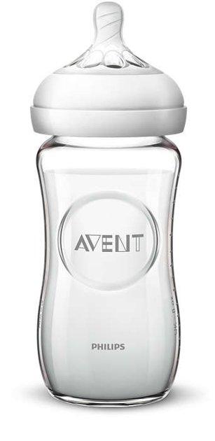 Philips Avent Natural stikla zīdaiņu pudelīte 240 ml, lēnas plūsmas knupītis 1m+ , SCF053/17