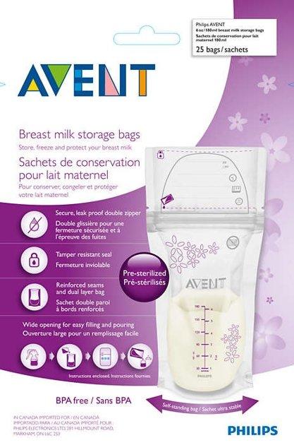 Philips Avent piena uzglabāšanas maisiņi 180ml/25 gab. (Artikuls: SCF603/25)