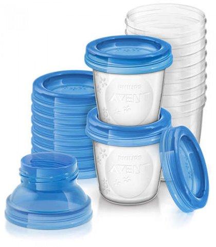 Philips Avent trauki krūts piena/ēdiena uzglabāšanai 180 ml (10gab) + 2 adapteri (Artikuls: SCF618/10)