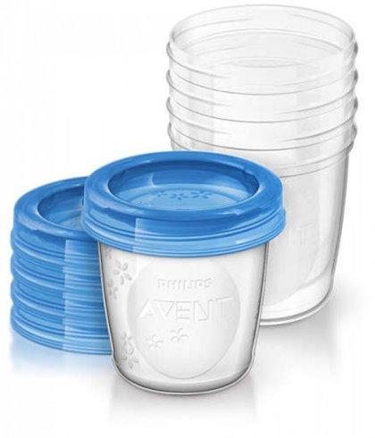 Philips Avent trauki ar vāciņiem krūts piena/ēdiena uzglabāšanai 180 ml (5gab) (Artikuls: SCF619/05)