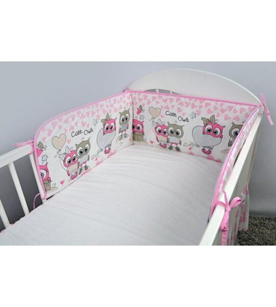 Aizsargmalas bērnu gultiņai Sowy serca pink, 180cm, Ankras