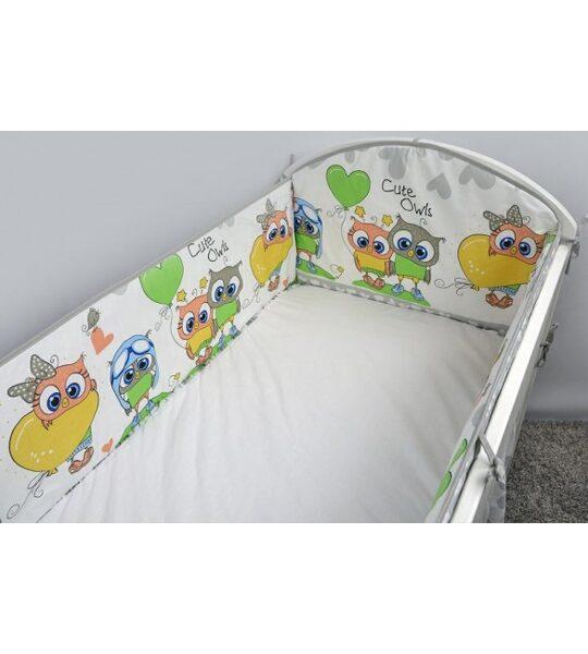 Aizsargmalas bērnu gultiņai, 360cm, Owls Heards grey, Ankras